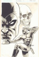 The Last Phantom #10 Cover - The Phantom Shooting Guns with Big Skull - Ink Wash - 2011 Signed Comic Art