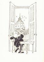 Priest with Condom Humor Illo  Comic Art
