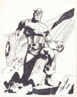 Captain America Posing with Flag Commission - 2009 Signed Comic Art