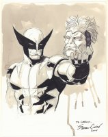 Wolverine with Sabretooth's Severed Head Ink Wash Commission - 2008 Signed Comic Art