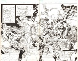 X-Men: The End #14 pgs. 22 & 23 - The Spirit of Magneto leads the charge of the X-Men against the forces of Chandilar DPS - 2006 Comic Art