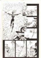 X-Men: The End #16 p.22 - Dazzler and Storm Combine their Powers to Stop the Battle - Cyclops & the Ghost of Magneto - 2006 Comic Art