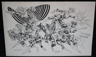 X-Men: Seventh Line-Up Pin-Up - LA - 1993 Signed Comic Art