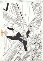Superman's Nemesis: Lex Luthor #4 Cover - Superman Flying - 1999 Signed Comic Art