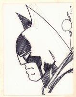 Batman from the Side Portrait Sketch - 2015 Signed Comic Art