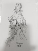 Hellboy and Frankensetin Pencil Drawing - 2015 Signed Comic Art