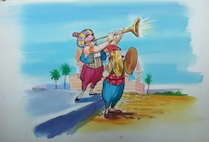 Aladdin - Large Art Color Board #42 - Palace Welcome Musicians  Comic Art