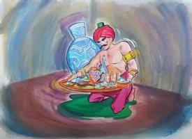 Aladdin - Large Art Color Board #15 - Man/ Genie? w/ Plate of Food Comic Art