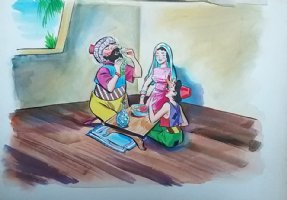 Aladdin - Large Art Color Board #6 Young Aladdin with Parents? Comic Art