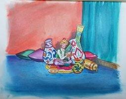 Aladdin - Large Art Color Board #1 Aladdin Rubbing Lamp Comic Art