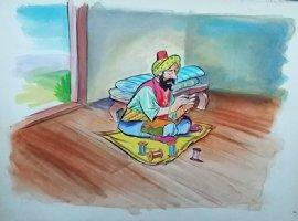 Aladdin - Large Art Color Board #4 - Man Sewing Comic Art