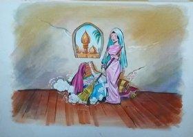 Aladdin - Large Art Color Board #5 Aladdin Babe Sweeping Comic Art