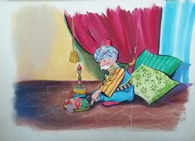 Aladdin - Large Art Color Board #21 Sultan with Fruit and Wine  Comic Art