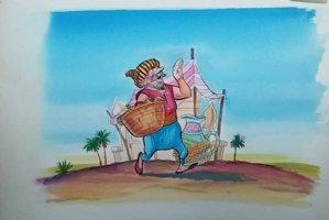 Aladdin - Large Art Color Board #41- Salesman in Market Place Comic Art