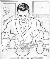 I Love Lucy  Coloring Book Art - Ricky Ricardo has the late night munchies, Lucille Ball app Comic Art