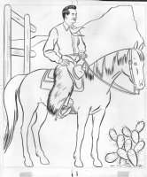 I Love Lucy  Coloring Book Art - Ricky Ricardo on horse being a cowboy Comic Art