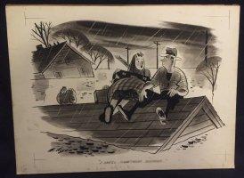 ''I smell something burning'' Flood Humorama Gag Comic Art