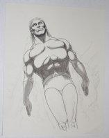 Aquaman Swimming Up Pencil and Some Ink Wash Drawing Comic Art