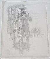 Bat Lash Smoking while walking through Town with Cowboys in Backround Detailed Pencil Prelim Comic Art