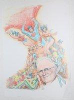 Alter Ego #65 Color Cover Prelim - Self Portrait with Heroes Surrounding Him Color Art - Superman, Batman, Wonder Woman, Aquaman, Batgirl, Black Canary, Robin, Mera, & Others - 2006 Comic Art