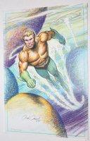 Aquaman Swimming Color Art - Comes with Print - 1995 Signed Comic Art