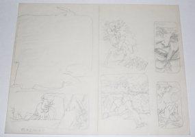 Bat Last #2 pgs. 18 & 19 DPS - Action Interior Pencil Layouts Comic Art