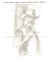 Bat Lash Smoking Portrait with Gun on ''Signed Limited Edition'' Paper - Signed Comic Art
