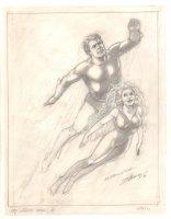 Aquaman and Mera Pencil Drawing - 1999 Signed Comic Art