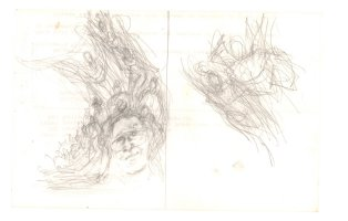 Alter Ego #65 Two Pencil Cover Prelims - Self Portrait with Heroes Flying - 2006 Comic Art