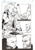 Extraordinary X-Men #8 p.3 - Storm and Old Man Logan Hold Hands - 2016 Comic Art