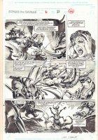 Conan the Savage #6 p.44 - Conan vs. Monster Action - 1996 Signed Comic Art