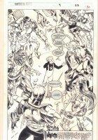 Fantastic Force #9 p.30 - Team End Page Splash - 1995 Signed Comic Art
