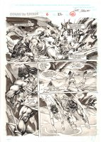 Conan the Savage #6 p.45 - Ink Wash Action Page - 1996 Comic Art