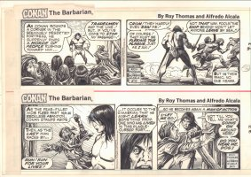 Conan the Barbarian Set of 2 Daily Strips 9/10 & 9/11/1980 Comic Art