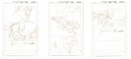 Iron Man Three Pencil Page Layouts of the Same Action Comic Art