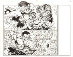 Avengers #28 pgs. 2 & 3 - Red Hulk Action DPS - Inks over Blue Line pencils of Walter Simonson - 2012 Comic Art