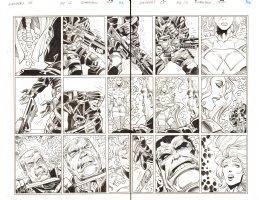 Avengers #28 pgs. 12 & 13 - Red Hulk DPS - Inks over Blue Line pencils of Walter Simonson - 2012 Comic Art