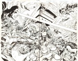 Avengers #25 DPS - Cyclops, Iron Man, Cyclops, Spider-Man, Wolverine, Magneto, Captain America, Storm, Doctor Strange, & Others DPS - Blue Line art of Walt Simonson - 2012 Comic Art