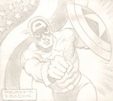 Captain America Punching Pencil Commission - Signed Comic Art