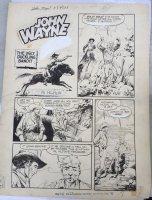 John Wayne Adventure Comics #8 p.1 - LA - 'The Ugly Duckling Bandit' Title Splas h- 1951 Comic Art
