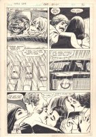 Girls' Love Stories #180 p.9 - Lovers Kissing at the Drive-In watching a Horror Movie - 1973 Comic Art