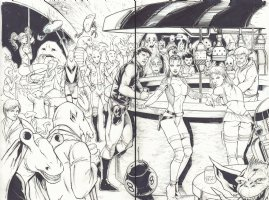 Star Wars Babes at a Cantina Scene DPS - Blue Line Ink Art Only - Signed Comic Art