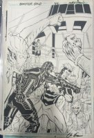 Booster Gold #42 Cover - Booster Gold vs. the Perforated Man - 2011 Signed Comic Art