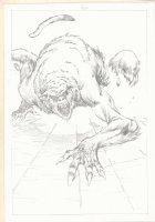 Red Sonja vs. Beast Action Pencil Page p.17 - Demon Monster Splash Comic Art