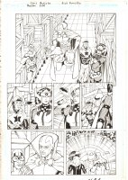 Booster Gold #34 p.12 - Mister Miracle, Blue Beetle, Big Barda, Skeets, and Booster Gold in Warehouse - 2010 Signed Comic Art