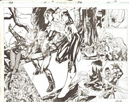 Justice League of America #115 pg 14 & 15 - Double Page Spread - Green Lantern  Comic Art