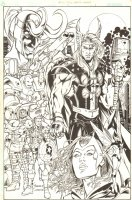 Marvel Universe: Millennial Visions #1 p.1 - Avengers: Captain America, Thor, Iron Man, Hercules, Wasp, Scarlet Witch, & Loki - 2002 Signed Comic Art