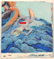 Nude Babe on her Back Sci-Fi Painting - Signed *Adults Only* Comic Art