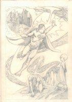 Superman Action Montage Pencil Page  Comic Art