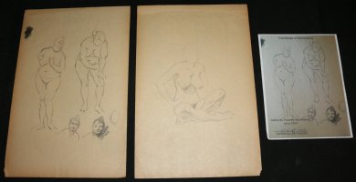 Life Drawings 2pc Set - LA - Two Standing, Two Portraits, and One Sitting Pencil Drawing - With COA from the Family Comic Art